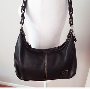 The Sak Black Leather Hobo Bag w/Silver Logo